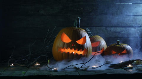 Halloween pumpkins and candles Footage