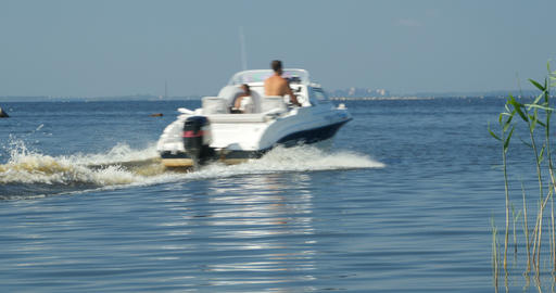 motor boat passes by Footage