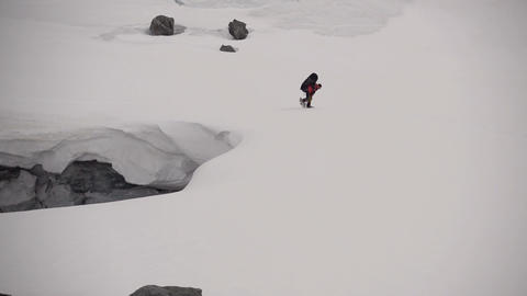 Mountaineer In The High Mountains Footage