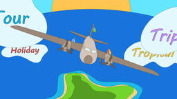 Airplane is floating on the ocean by passing through the tagged clouds. - GIF