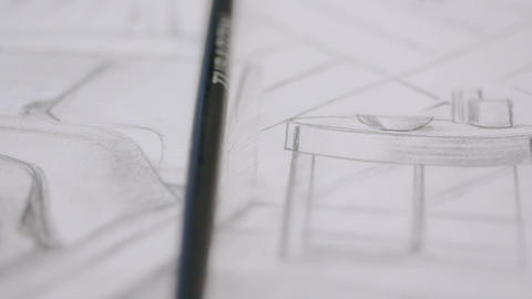 Woman-architect draws a sketch of the future house Footage