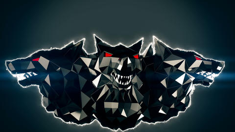 [alt video] Blinking Low Poly Wolf Head VJ Loop