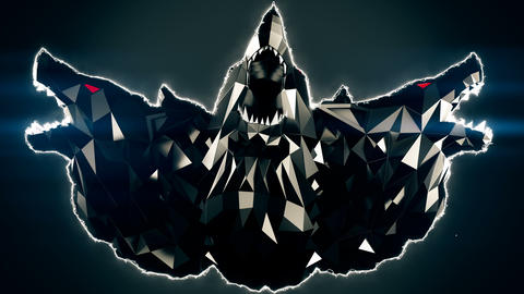 Blinking Low Poly Wolf Head VJ Loop Animation