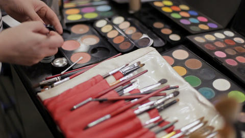work of the make-up artist. Professional cosmetics in the make-up salon Footage