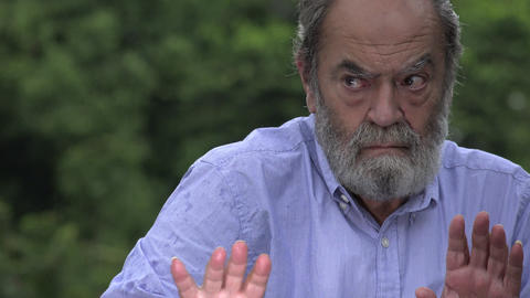C0022 fearful bearded hispanic senior old man and alzheimers Stock Video Footage