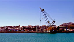 Holyhead / Wales - April 30 2018 : Crane operating at Holyhead harbour close to 영상물