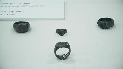 Exhibits of Old Middle Ages rings Footage