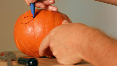 draw halloween pumpkin ready to carving Archivo