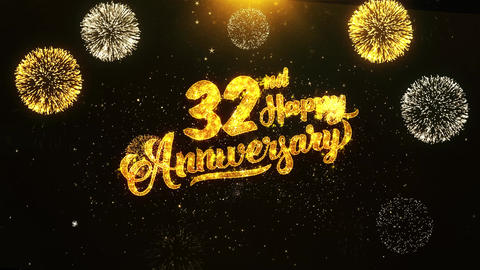 32nd Happy Anniversary Text Greeting, Wishes, Celebration, invitation Background Live Action