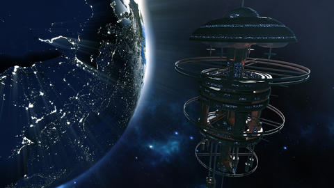 3d rendering. Powerful spacestation with city lighted earth globe Fotografía
