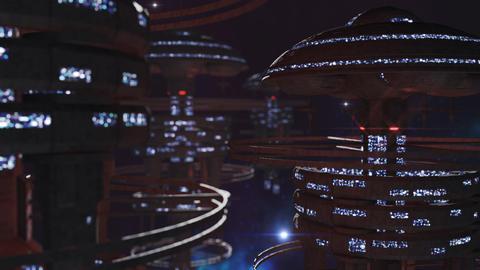 3d rendering. Powerful set of spacestations in cosmic scene フォト