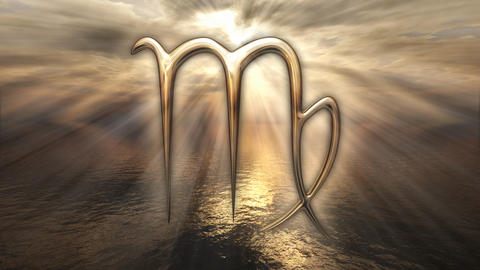Mystic golden zodiac horoscope Virgo symbol. 3D rendering Photo