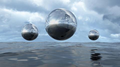 3D rendering abstract liquid transparent sphere above water Fotografía