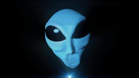 Alien grey hologram head face creepy extraterrestrial gray ufo 4k Footage