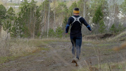 Male Athlete Runner Running With Mountains stock footage