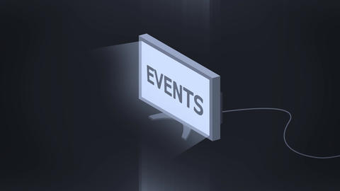 Isometric TV symbol turn is on animation with events sign Animation