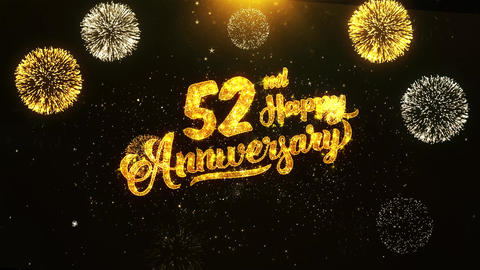 52nd Happy Anniversary Text Greeting, Wishes, Celebration, invitation Background Live Action