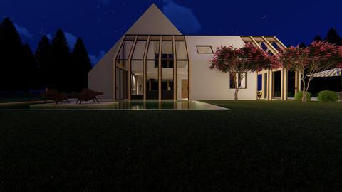Scandinavian modern house exterior at night Photo