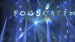 "The Words ""Fog screen"" Projected Onto a Stage Screen Footage"