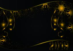 Gold and black background with Snowflake and ball for Christmas Holiday Season Vector