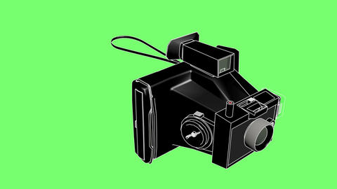 3d animation of polaroid with line stroke on green screen Animation