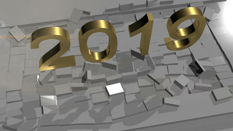 Abstract Animation of New Year 2019 Breaking Through from Floor Animation