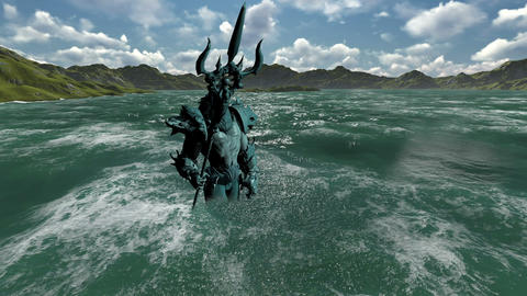 3d animation of Neptune (Poseidon) on the green screen in the see Animation