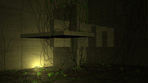 animation - Ivy growing over a abstract concrete shape Animation