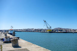 Holyhead / Wales - April 30 2018 : Crane operating at Holyhead harbour close to フォト
