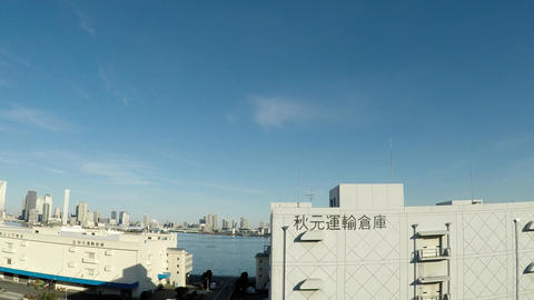 Japanese cityscape. Capital highway, car window near Shibaura ビデオ