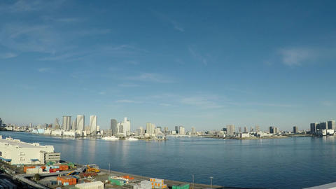 Japanese cityscape. Tokyo Bay seen from the capital speed ビデオ