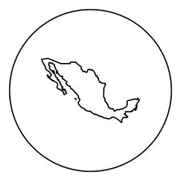 Map of Mexico icon black color in round circle Vector