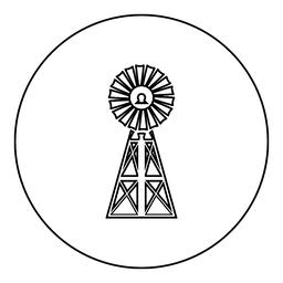 Wind turbine windmill classic american icon black color in round circle ベクター
