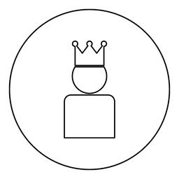 King in crown icon black color in round circle ベクター