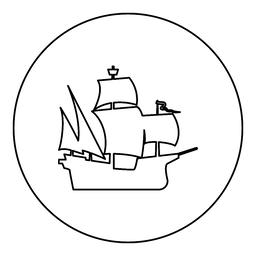 Medieval ship icon black color in round circle ベクター