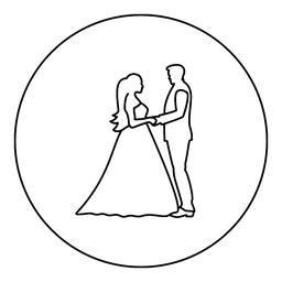 Bride and groom holding hands icon black color in round circle Vector