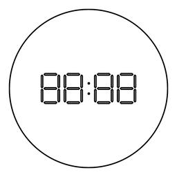 Digital clock face icon black color in round circle ベクター