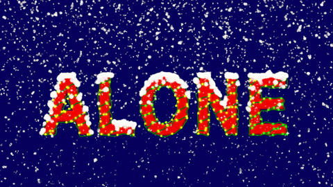 New Year text text ALONE. Snow falls. Christmas mood, looped video. Alpha Animation