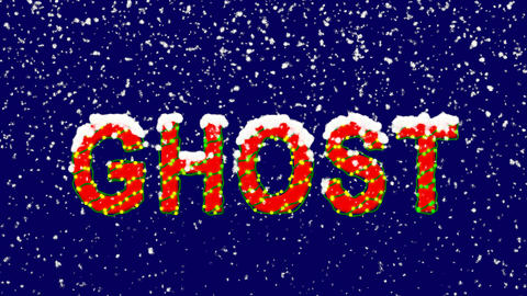 New Year text text GHOST. Snow falls. Christmas mood, looped video. Alpha Animation
