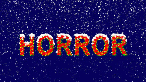 New Year text text HORROR. Snow falls. Christmas mood, looped video. Alpha Animation