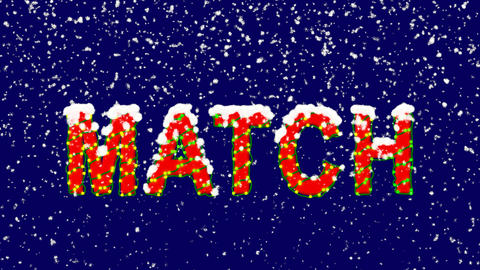 New Year text text MATCH. Snow falls. Christmas mood, looped video. Alpha Animation