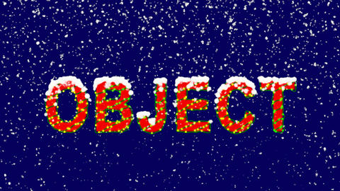 New Year text text OBJECT. Snow falls. Christmas mood, looped video. Alpha Animation