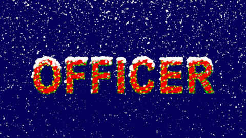 New Year text text OFFICER. Snow falls. Christmas mood, looped video. Alpha Animation