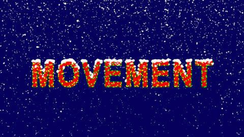 New Year text text MOVEMENT. Snow falls. Christmas mood, looped video. Alpha Animation