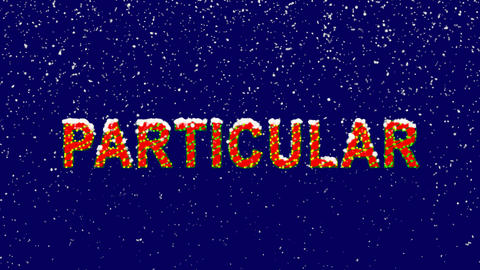New Year text text PARTICULAR. Snow falls. Christmas mood, looped video. Alpha Animation