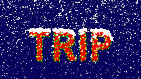 New Year text text TRIP. Snow falls. Christmas mood, looped video. Alpha channel Animation