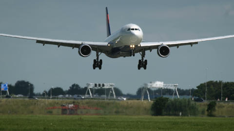 Airbus A330 of Delta Air landing in Schiphol airport Footage