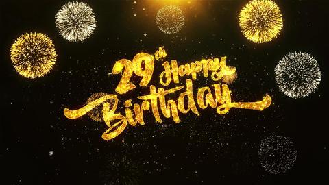 29th Happy Birthday Text Greeting, Wishes, Celebration, invitation Background Footage