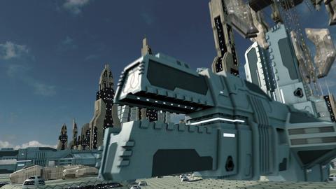 Travel through futuristic sci-fi city 4K Animation