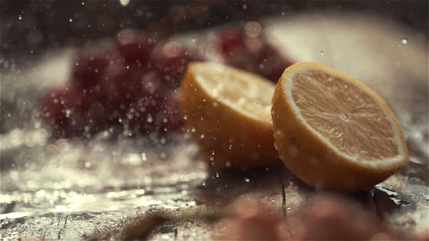 Pouring water on tasty green apple, slow motion shot at 480fps Footage